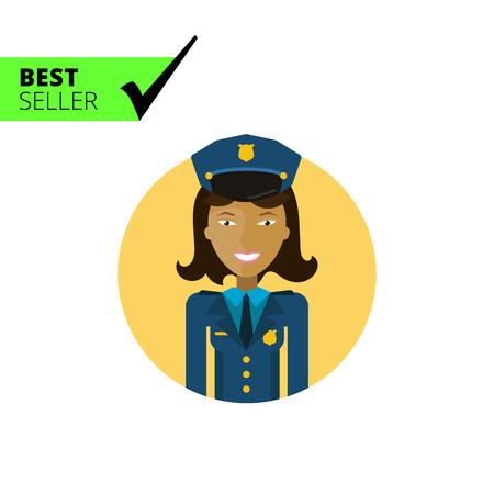 mujer policia: Personaje femenino, retrato de mujer policía sonriente joven de Asia