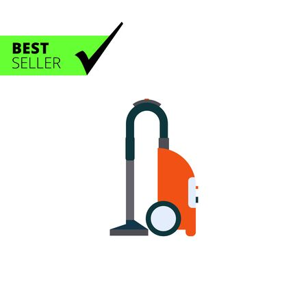 carpet cleaning service: Multicolored vector icon of red vacuum cleaner Illustration