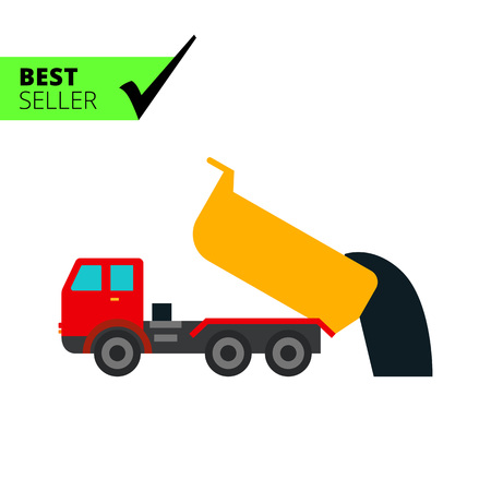 dumping: Multicolored vector icon of unloading dump truck