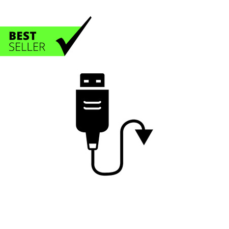 input device: Vector icon of USB cable with arrow on one side