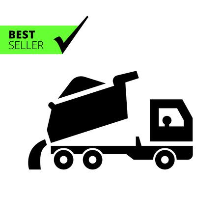 dump body: Icon of unloading dump truck Illustration