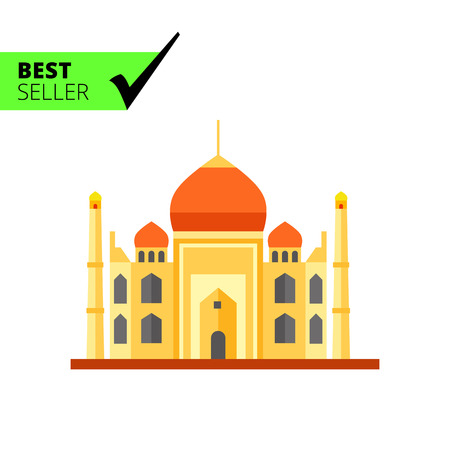 mausoleum: Multicolored vector icon of Indian Taj Mahal Mausoleum