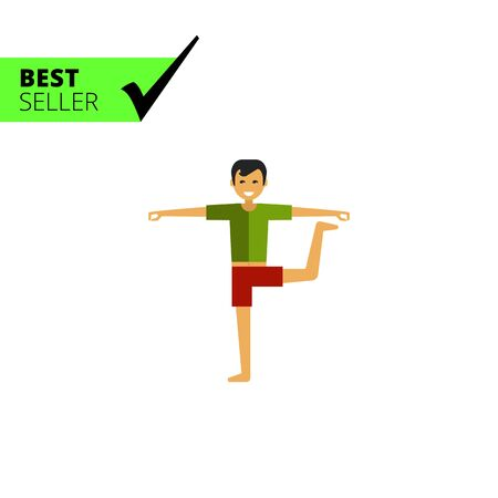 doing: Multicolored vector icon of standing man doing yoga