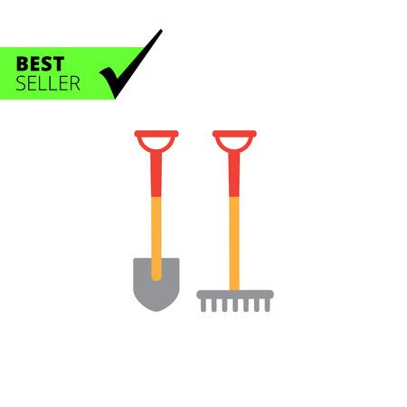 scraping: Vector icon of garden spade and rake Illustration
