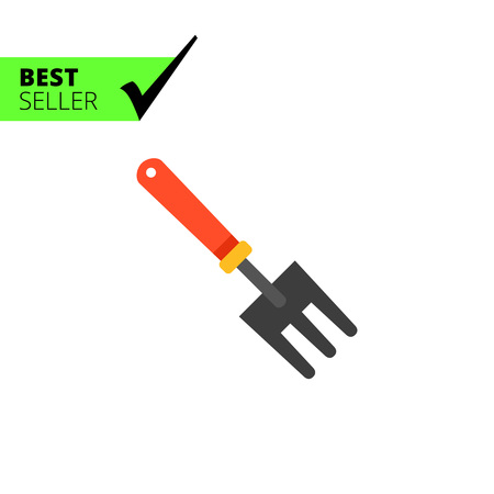 scraping: Multicolored vector icon of small rake with red handle