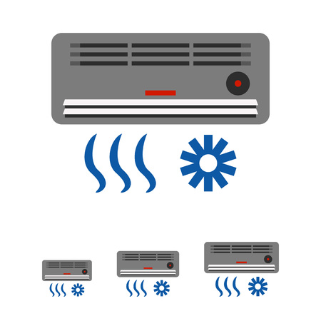 humidity: Multicolored vector icon of air conditioning device with air flow and cold sign Illustration