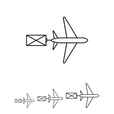 sender: Icon of flying airplane carring letter Illustration