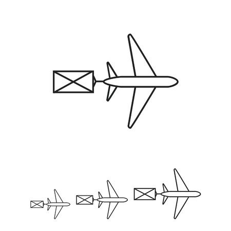 Icon von fliegenden Flugzeug carring Brief