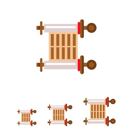 Multicolored vector icon of ancient parchment scroll