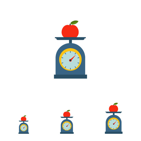 measuring cup: Vector icon of red apple on scales cup