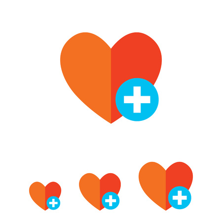 Icon of red heart sign with plus depicting Add to favorites icon