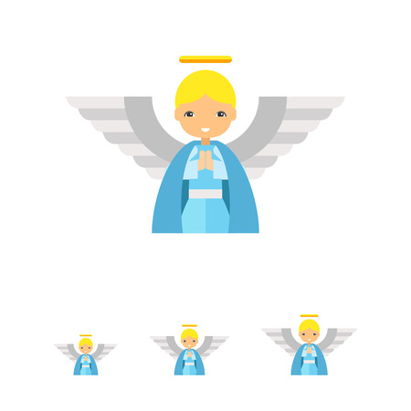 messengers of god: Icon of cute cartoon blonde angel in blue tunic with large white wings and golden nimbus Illustration