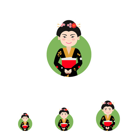 hairdos: Female character, portrait of smiling Asian woman wearing black kimono