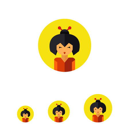 buns: Multicolored vector icon of portrait of young geisha