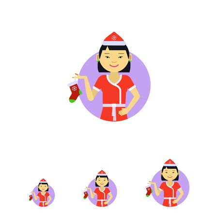 christmas costume: Female character, portrait of Asian woman wearing Santa costume, holding Christmas sock