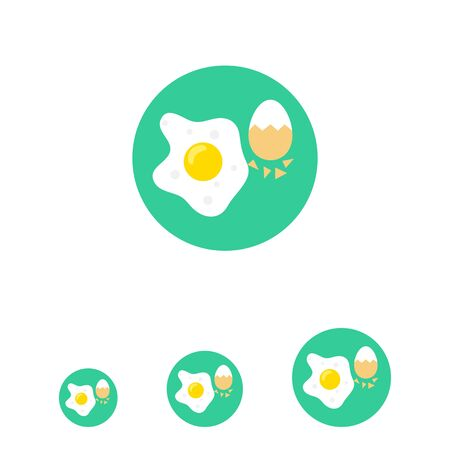 rational: Icon of fried egg and boiled egg with half-peeled eggshell
