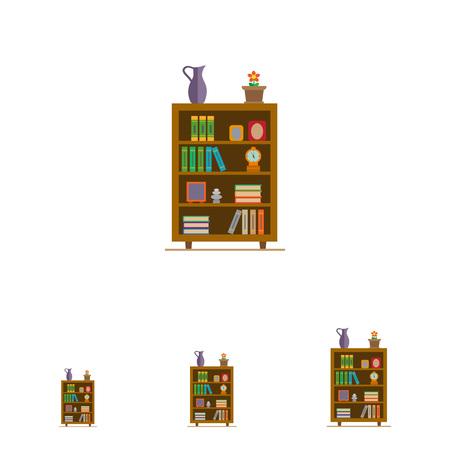 marcos decorados: Icono del vector de los estantes de libros decorado con flores en maceta, reloj y marcos de fotos