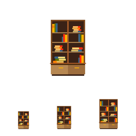 sideboard: Multicolored vector icon of bookcase with books stacks on shelves