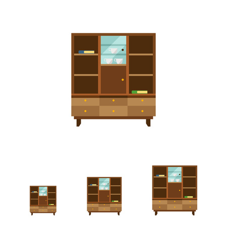 bookcase: Multicolored vector icon of bookcase with closed glass door and books, cups on shelves
