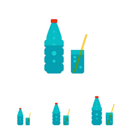 mineral: Vector icon of glass of sparkling mineral water and glass with straw