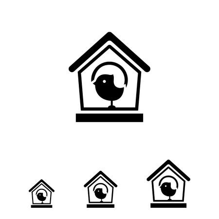 sparrow: Vector icon of birdhouse and sparrow silhouette