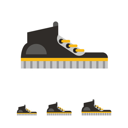 shoelaces: Multicolored vector icon of black gumshoes with yellow stripe and shoelaces, side view Illustration