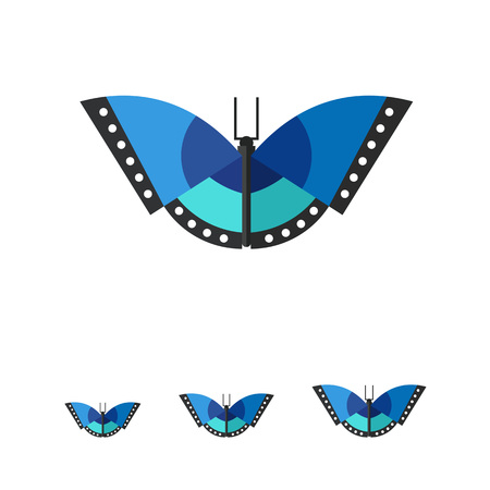 entomology: Multicolored vector icon of blue butterfly with black stripes and white spots Illustration