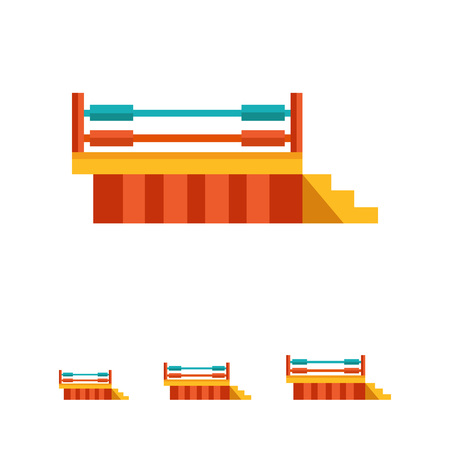 boxing ring: Multicolored vector icon of boxing ring and stairs