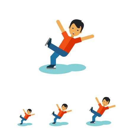 slippery floor: Multicolored vector icon of boy falling on the wet floor