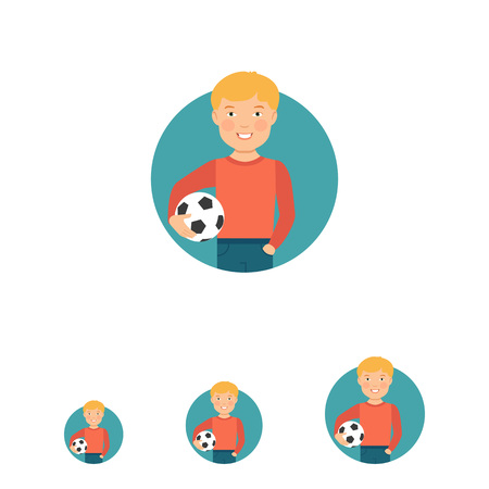 early teens: Male character, portrait of smiling boy holding football ball Illustration