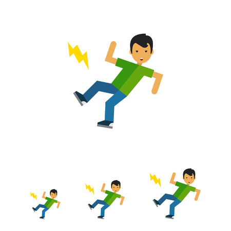 slip hazard: Multicolored vector icon of boy cartoon character who is slipping Illustration