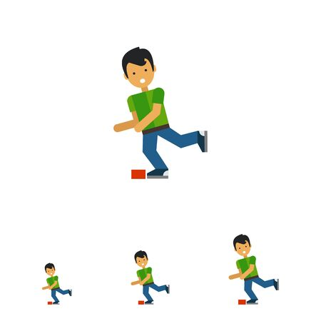 unexpected: Multicolored vector icon of boy cartoon character who is stumbling Illustration