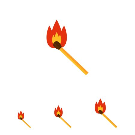 match: Multicolored vector icon of burning wooden match