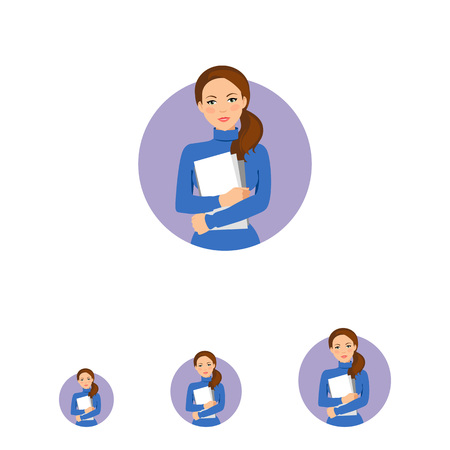 hairdos: Female character, portrait of serious businesswoman holding paper sheets ring glasses Illustration