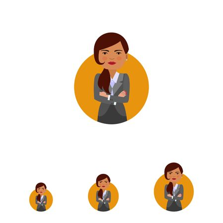 hairdos: Female character, portrait of businesswoman with her hands crossed on chest Illustration