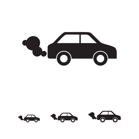 car exhaust: Vector icon of car emitting exhaust fumes Illustration
