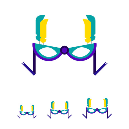 incognito: Multicolored vector icon of stylish carnival mask with feathers and ribbons Illustration