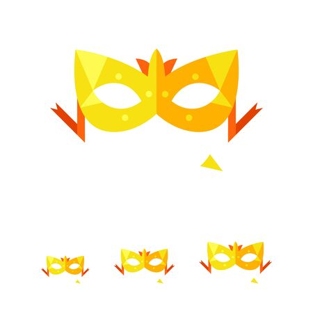 incognito: Multicolored vector icon of stylish carnival mask with ribbon Illustration