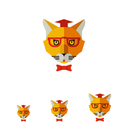 joke glasses: Multicolored vector icon of cat wearing graduation hat, glasses and bow tie Illustration