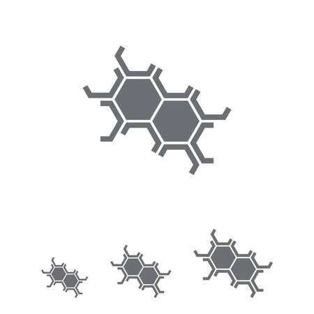 six objects: Set of icons with cell structure, with text on green ribbon Illustration