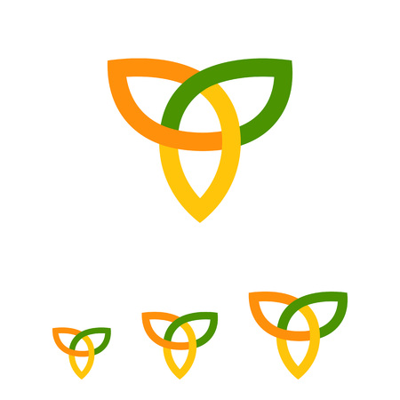 celtic: Multicolored vector icon of orange-yellow-green Celtic ornament Illustration