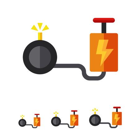 implosion: Multicolored vector icon of cartoon bomb with detonator