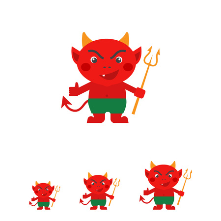trident: Vector icon of red cartoon devil with trident