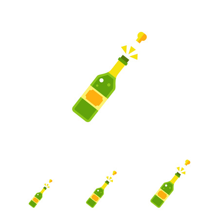 Multicolored vector icon of champagne bottle with open cork Illustration