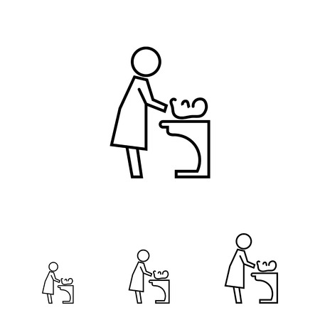 baby changing sign: Icon of mother changing diaper with baby lying on changing table Illustration
