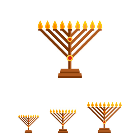 chanukah: Multicolored vector icon of Chanukah menorah with candle