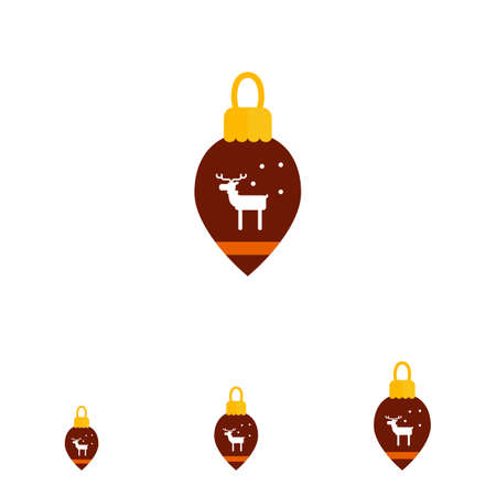 reindeer silhouette: Vector icon of brown Christmas tree ornament with reindeer silhouette Illustration