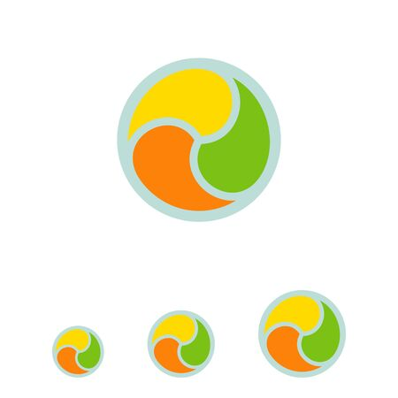 pattern corporate identity orange: Multicolored vector icon of abstract circle shape for logo design
