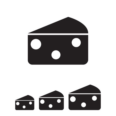 appetizers: Vector icon of triangle cheese piece with holes