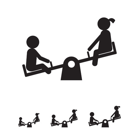 playtime: Icon of boy and girl silhouette sitting on seesaw Illustration